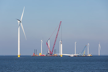 Construction site of offshore wind farm