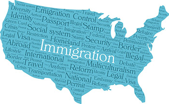 Immigration and U,S. word cloud