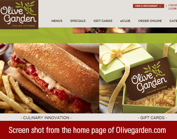 Screen shot from the home page of Olivegarden.com