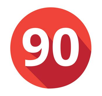 Number 90 in red circle