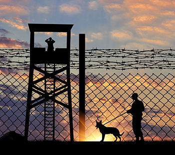 Security guard with dog at border