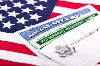 Social security card with US flag