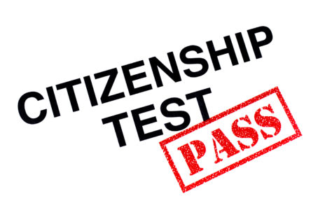 Citizenship Test heading stamped with a red PASS rubber stamp.