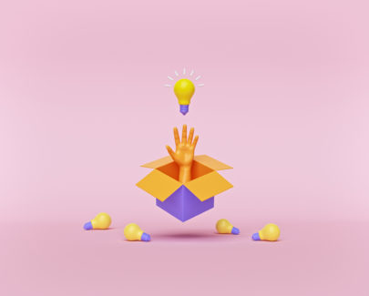 Think outside the box business concept. box, hand and bulbs isolated on pastel pink background. creative idea. Conceptual minimal design. 3d rendering